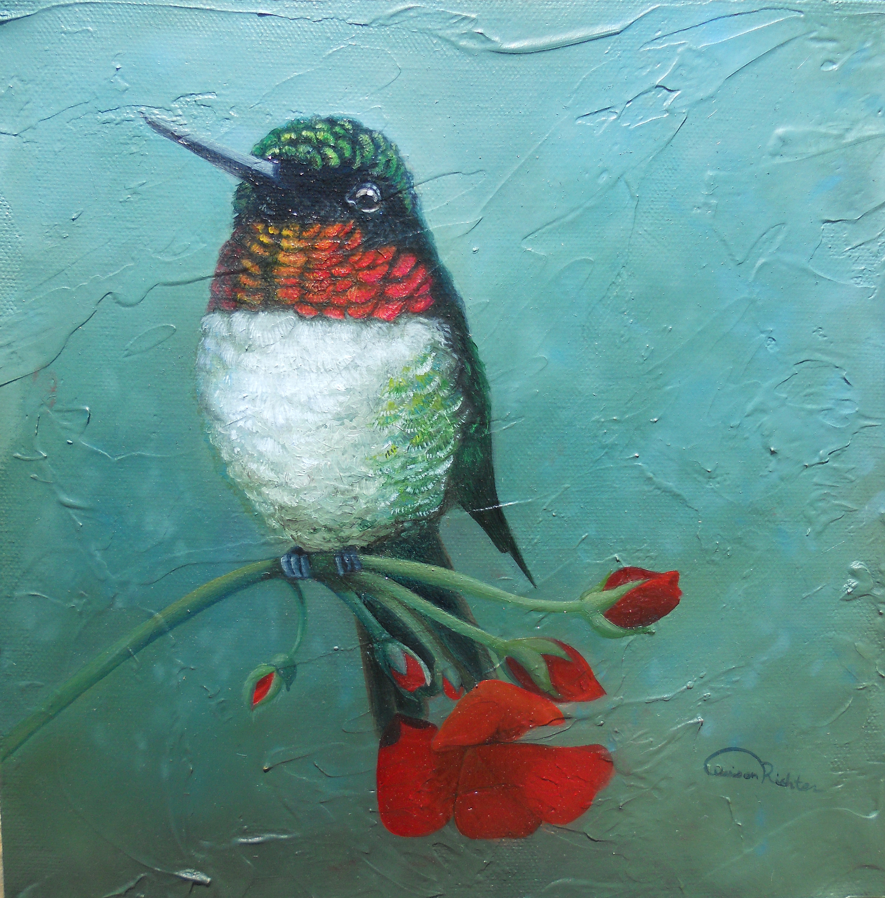 Ruby Throat Hummingbird oil on canvas