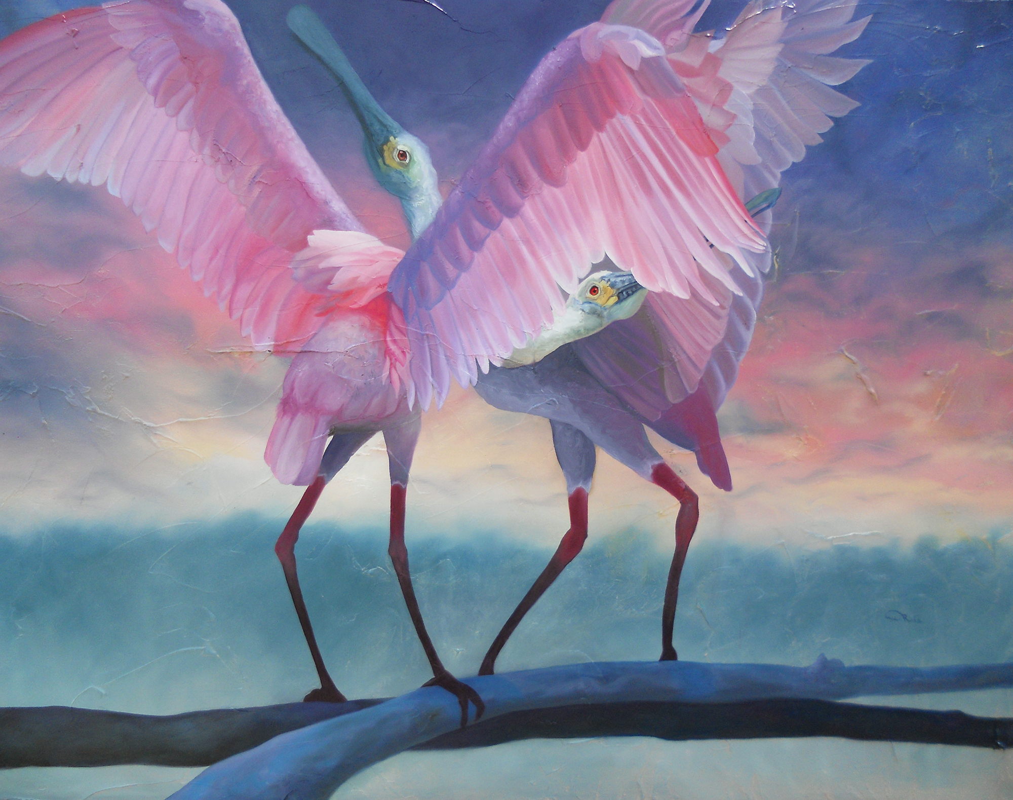 """Private Chatter"" - Roseate Spoonbills Speaking with Exaggerated Posturing - an oil painting original artwork by professional artist Allison Richter"