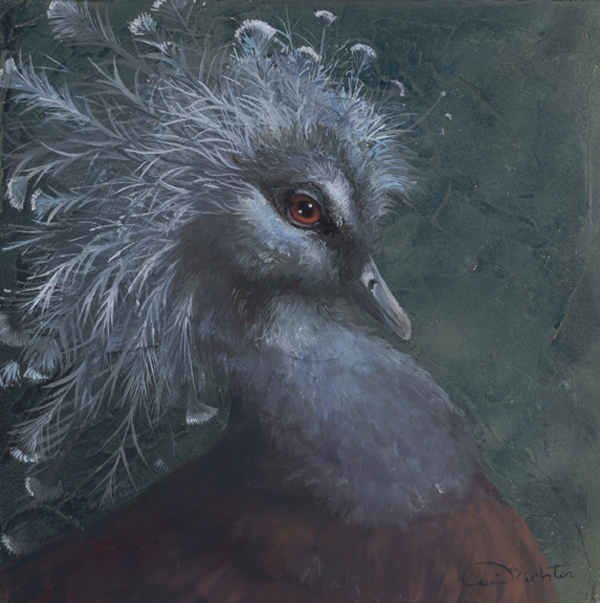 "Original Wildlife Bird Art Oil Painting - ""Good Hair"" h 8 x w 8 for Sale"