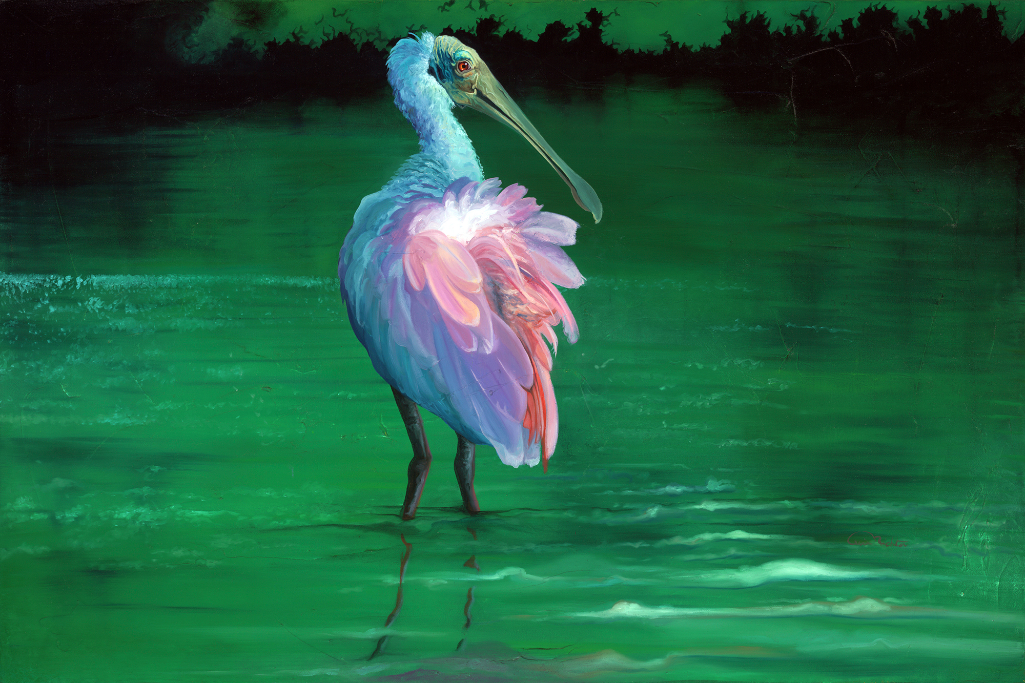 "Spoonbill Original Artwork Oil on Canvas for sale ""On the Flip-side"" is a 24' h x 36' w of a Roseate Spoonbill standing in quiet waters."