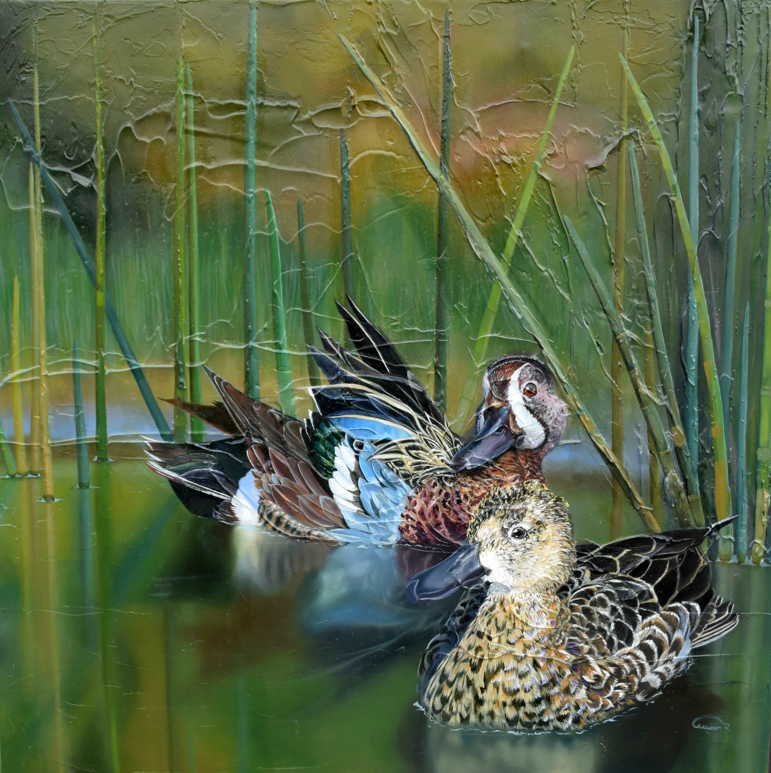 Teal wing ducks oi on canvas original artwork completed.