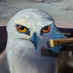 White-tail Kite Oil Painting in Progress - working on bird facial details