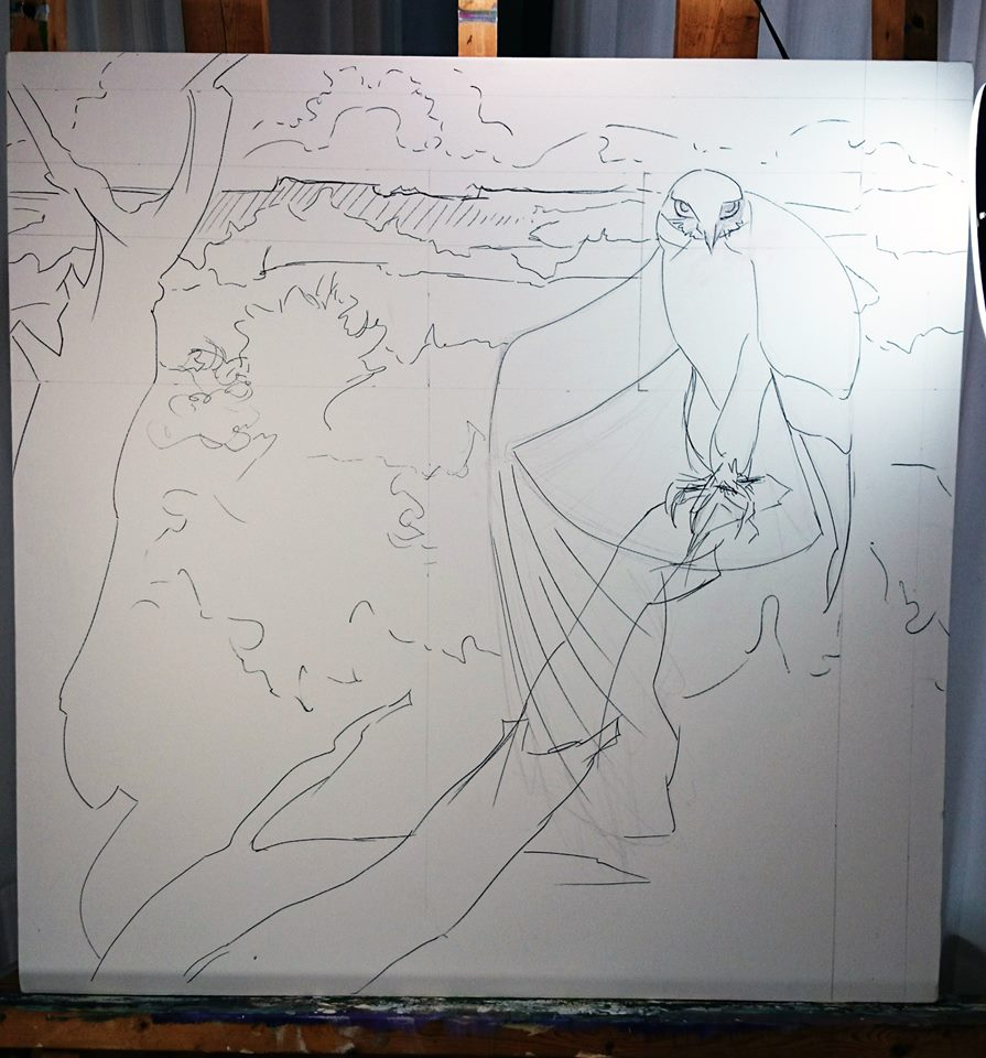White-tail Kite Oil Painting in Progress - inking the drawing.